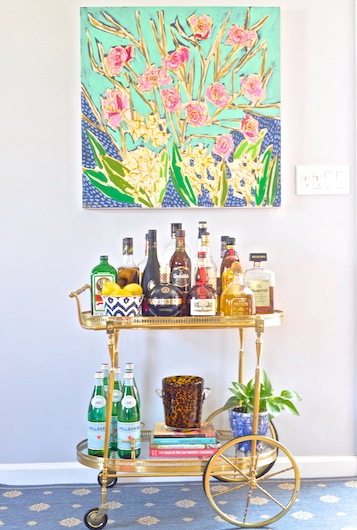 Lulie-Wallace-Commissioned-Painting-of-Wedding-Flowers-and-Vintage-Bar-Cart-DiCorcia-Interior-Design (1)