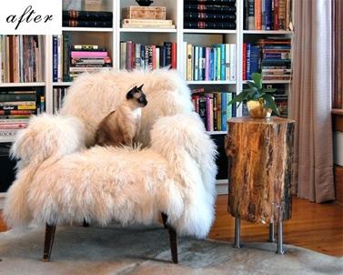 Bon ... Sheepskin Throw Draped Over Chair Living Room Bookshelves  ...