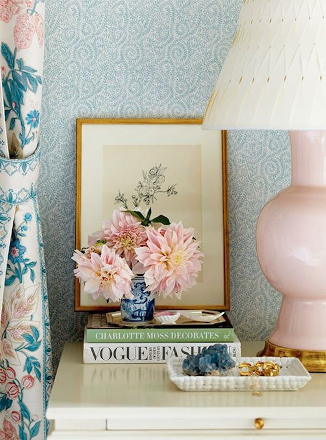 Dusty-Pink-and-Light-Blue-Bedside-Table-Styling-via-DiCorcia-Interior-Design-NY-NJ