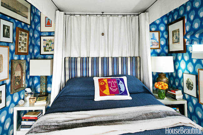 Peter-Dunham-Bukhara-fabric-walls-West-Hollywood-courtyard-apartment-bedroom-via-DiCorcia-Interior-Design-NY-NJ