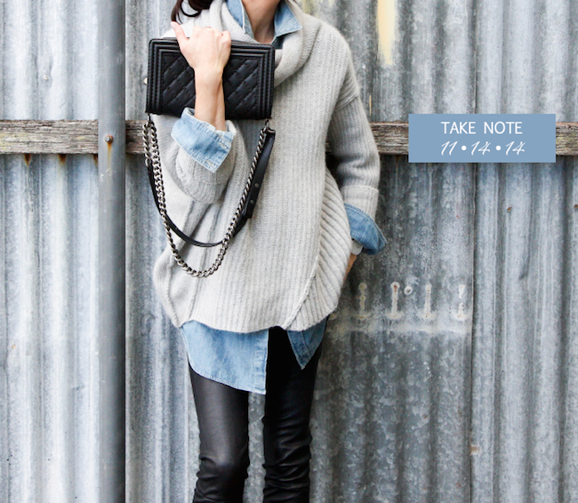 Leather-leggings-oversize-sweater-chambray-shirt-take-note-Spanx-leather-leggings-best-hot-chocolate-Paris-rosetta-probe-landing-disney-princesses-real-waisteline-via-DiCorcia-Interior-Design-Hamptons-NY-NJ