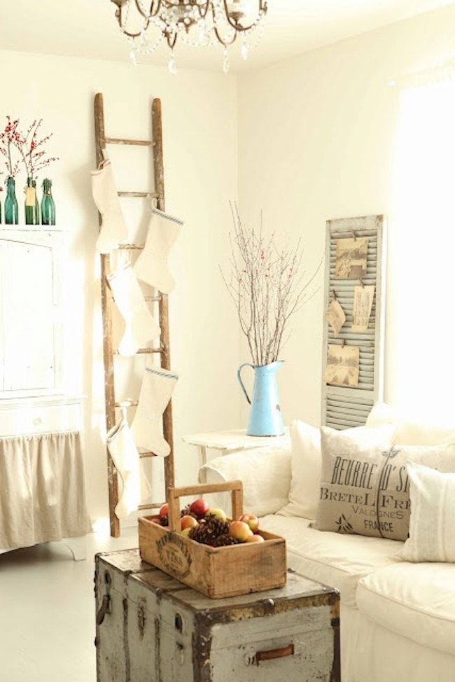 No-Fireplace-Christmas-Stocking-Ideas-Solutions-White-Chirstmas-Ladder-DiCorcia-Interior-Design-NY-NJ