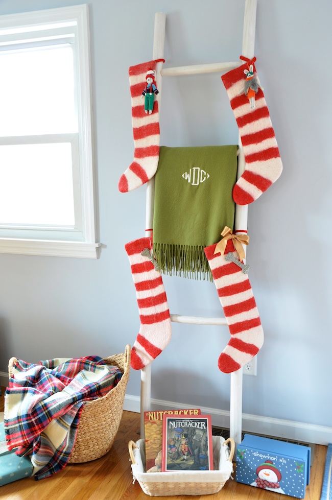 No-Fireplace-Christmas-Stocking-Ideas-Solutions-Serena-&-Lily-Ladder-William-Sonoma-Cashmere-Thow-Asos-Blanket-Scarf-This-Christmas-Gift-Wrap-DiCorcia-Interior-Design-NY-NJ 3