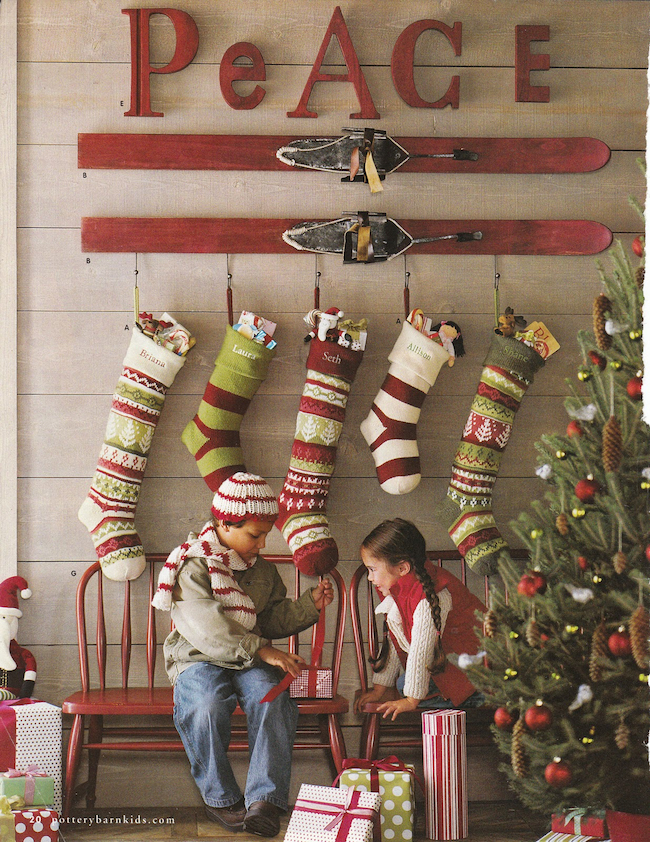 No-Fireplace-Christmas-Stocking-Ideas-Solutions-Vintage-Ski-DiCorcia-Interior-Design-NY-NJ