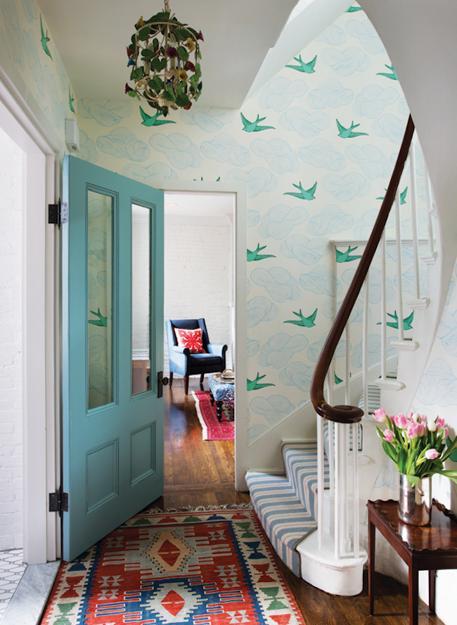Entryway-Hygge-&-West-Daydream-wallpaper-via-DiCorcia-Interior-Design-NY-NJ