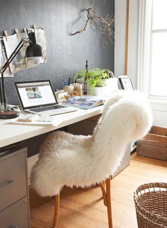 Sheepskin Throws On Chairs Fall Winter Rustic Office